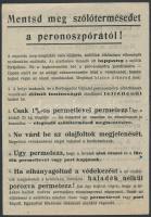 1953-1956 Kis szőlészeti nyomtatvány tétel: növényvédelmi röplap (peronoszpóra ellen), 2 db ismertető füzet szőlőművelő ekéről, a Kecskés-féle eketalálmányról.