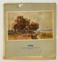 1956 naptár, Képzőművészeti Alap Kiadóvállalat, elején kis szakadásokkal, 33×31 cm