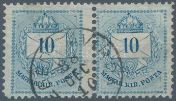 1881 10kr pár bal oldali szélesre, jobb oldali keskenyre fogazva, ritka