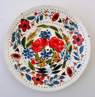 Gránit kézzel festett tányér, kopás nyomokkal, jelzett, d:21,5 cm