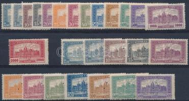 1921-1923 Parlament sor + 12 érték 3-as lyukasztással (6.500) ritka