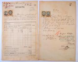1880-1887 2 db Nyugta 12 és 7 kr. valamint 90 és 4 kr. okmánybélyegekkel