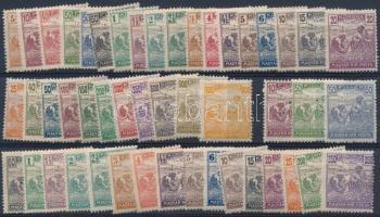 1920/1921 Arató sor + 19 db klf érték 3-as lyukasztással (min. 12.000)