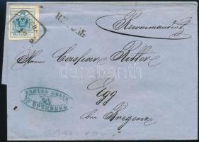 1858 9kr + (a hátoldalon) bontásnál elvágott 6kr ajánlott levélen OEDENBURG