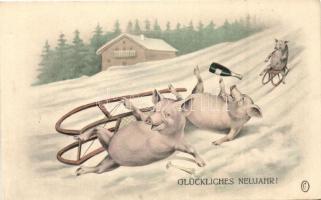Glückliches Neujahr / New Year, pigs sled, H.H.i.W.Nr. 460.