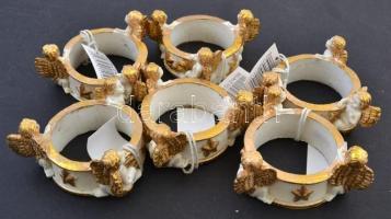 Angyalkás szalvétagyűrű (8 db), festett műgyanta, d:5 cm