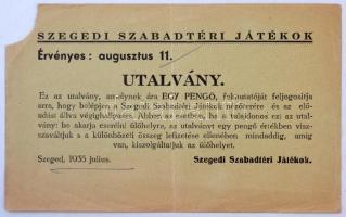 1935 Szeged, Utalvány a Szegedi Szabadtéri Játékokra