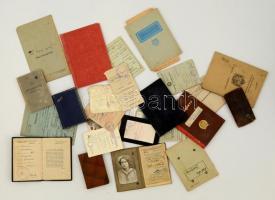 1916-1994 Vegyes igazolvány tétel(BKV igazolvány, MÁV félárú jegy, munkakönyv, tagsági igazolvány, útlevél, stb.)