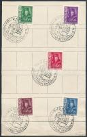 10 db teljes sor 1935-1943 papírlapokon elsőnapi illetve alkalmi bélyegzésekkel