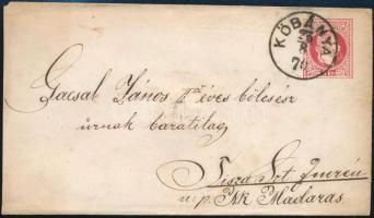 1870 5kr díjjegyes boríték KŐBÁNYA - Tiszaszentimre luxus