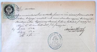 1872-1887 2 db Okirat (törvényszéki, közjegyzői), 1 ft. és 50 kr. okmánybélyeggel.