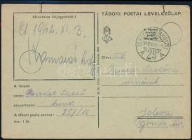 1942 3 teleírt tábori lap egy küldeményként, összefűzve