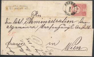 1872 Réznyomat 5kr levélen BEODRA