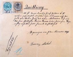 1891 Nyugta 10 és 3 kr okmánybélyegekkel, vegyes bérmenetesítésként