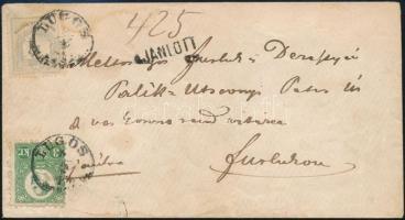 1875 Ajánlott távolsági levél vegyes 2kr, 10kr és 3kr bérmentesítéssel, hátoldali 10kr nincs lebélyegezve LUGOS - Furlog