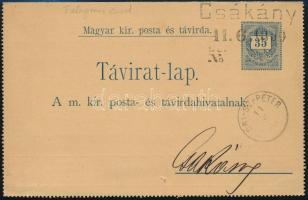 1890 35kr Távirat Feketeszámú 30kr díjkiegészítéssel Csákány