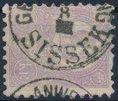 1871 Kőnyomat 25kr (40.000) SISSEK (elvékonyodás / thin paper)