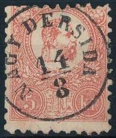 1871 Kőnyomat 5kr (kis elvékonyodás / thin paper) NAGY DERSIDA (Gudlin 600 p)