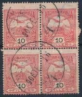 1906 Turul 10f elfogazott négyes tömb