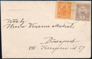 1900 Helyi levél Turul 4f + Hírlapbélyeg bérmentesítéssel zöld BUDAPEST bélyegzéssel