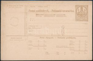 ~1880 4 különféle használatlan 5kr illetékjegyes postai szállítólevél közte 2 utánvételes, 2 kétnyelvű. Ritka!