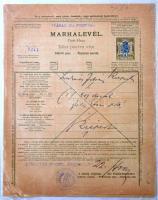 1900 2 db Marhalevél, 10 és 4 filléres benyomott illetékbélyeggel