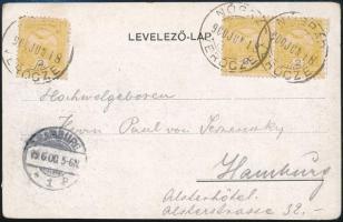 1900 Képeslap Turul 3 x 2f bérmentesítéssel NÓGRÁD / VERŐCZE - Hamburg