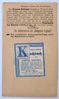 1888 Szakácskönyv reklámcímke budapesti napilap előnyomott díjjegyes lapjára ragasztva
