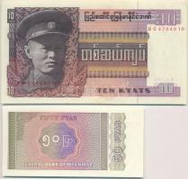 Burma 1972. 1K + 1973. 10K + Mianmar 1990. 1K + 1994. 50P + 1996. 5K + 10K + 1997. 50K T:I nyomdai papírránc Burma 1972. 1 Kyat + 1973. 10Kyats + Myanmar 1990. 1 Kyat + 1994. 50 Pyas + 1996. 5 Kyats + 10 Kyats + 1997. 50 Kyats C:UNC printing crease Krause 56; 58; 67; 68; 70; 71; 73