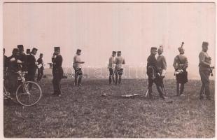 cca 1910-1914 Ferenc József császár hadgyakorlaton, fotólap, 9x14 cm / Franz Joseph I of Austria, military exercise, photocard, 9x14 cm