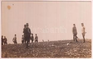 1915 Ferenc József császár hadgyakorlaton, fotólap, 9x14 cm / Franz Joseph I of Austria, military exercise, photocard, 9x14 cm