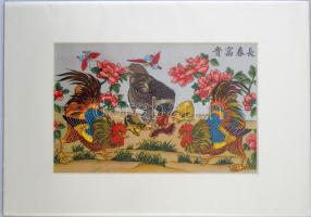 Kakasok kínai színezett litográfia / Cocks chinese colored lithography in paspartu. 30x21 cm