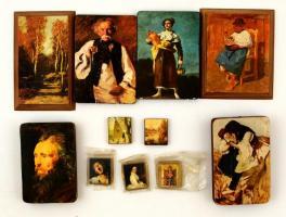 Híres festmények nyomatai fa táblán, 4×3-14×10 cm, összesen:10 db