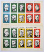 Német hírességek 2 levélzáró kisív / Notable German persons 2 mini sheets