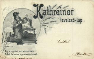 1899 Kathreiner levelező lap; Úgy a reggelinél mint az ozsonnánál, Valódi Kathreiner legyen minden háznál / Hungarian coffee advertisement (EK)