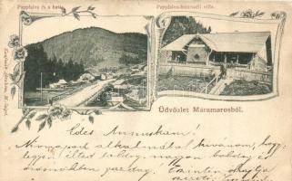 Papfalva, Popesti; határ, villa, Kaufman Ábrahám kiadása / villa by the borders, floral Art Nouveau (EB)