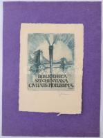 Sterbenz Károly (1909-1993): Bibliotheca Szechenyiana Civitatis Fidelissimae. Rézkarc, papír, jelzett, 6.5x5.5 cm.