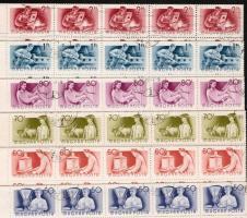 1955 Munka sor 6 klf értéke 99-es ívdarabokban (14.850)