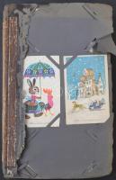 Több, mint 200 db MODERN városképes és üdvözőlap albumban, vegyes minőség / More than 200 modern postcards, town-views and motives, mixed quality
