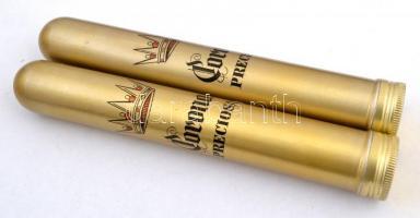 2 db fém Corona márkájú szivar doboz, h:13 cm (2×)