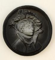 Gál István (?-): Hölgy portré. Festett fali kerámia plakett, jelzett, hibátlan, d:12,5 cm