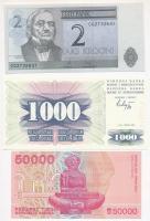 Vegyes: Bosznia-Hercegovina 1992. 10D + Észtország 2006. 2K + Horvátország 1993. 50.000D T:I Mixed: Bosnia-Herzegovina 1992. 10 Dinara + Estonia 2006. 2 Krooni + Croatia 1993. 50.000 Dinara C:UNC