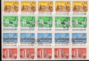 1972-1975 Tájak-Városok 9 klf érték hajtott teljes ívekben (24.000)
