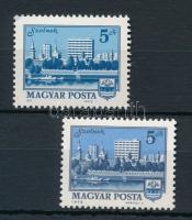 1975 2 db Tájak-városok bélyeg, egyiken karika az 5-ösben, másokon fekete pont az S betűnél