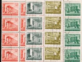 1951 Épületek sor 10 klf érték kis képméretben + 4 klf érték nagy képméretben hajtott teljes ívekben (32.000)