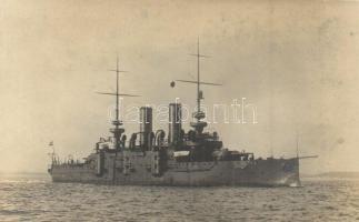 SMS Árpád, a K.u.K. haditengerészet Habsburg-osztályú csatahajója / SMS Árpád, Austro-Hungarian Navy Habsburg-class pre-dreadnought. phot Alois Beer
