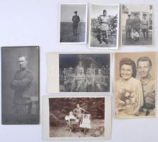 cca 1914-1945 Vegyes katonai fotó tétel a két világháború idejéből, 7 db fotó, 8x6 és 13x8 cm közötti méretekben