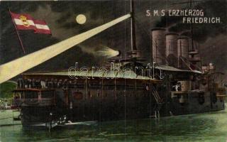 SMS Erzherzog Friedrich, a K. u. K. haditengerészet csatahajója éjjel / SMS Erzherzog Friedrich at night, K.u.K. Kriegsmarine. G. Fano (EB)