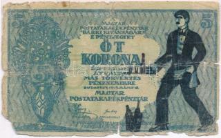 1919. 5K MÁS TÖRVÉNYES... előlapján gúnyrajz T:IV