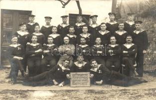 1914-1915 Heil den Siebenbürgen Sachsen / K.u.K. Kriegsmarine, Mariners of SMS Erzherzog Franz Ferdinand, group photo Fiorini